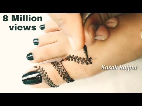 Simple mehndi design for feet | Easy mehndi design for beginners | thumbnail