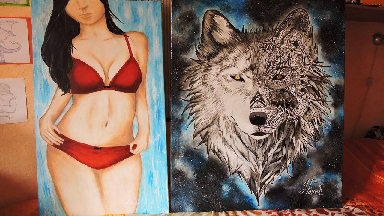 голую девушку разрисовывают красками