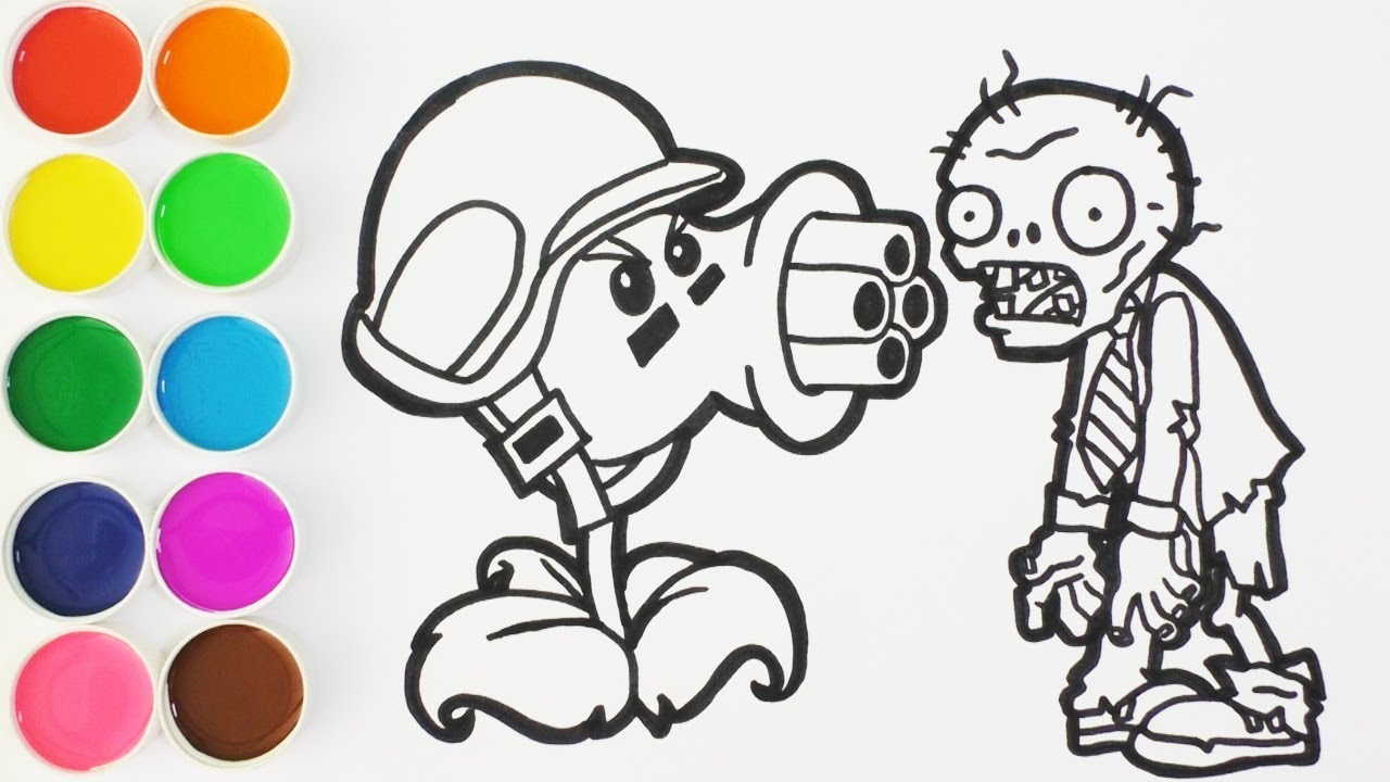 Como Dibujar Y Colorear Repetidora De Plantas Vs Zombies Dibujos Para Niños Learn Colorsfunkeep