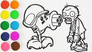 Como Dibujar y Colorear Repetidora de Plantas Vs Zombies - Dibujos Para Nios - Learn ColorsFunKeep
