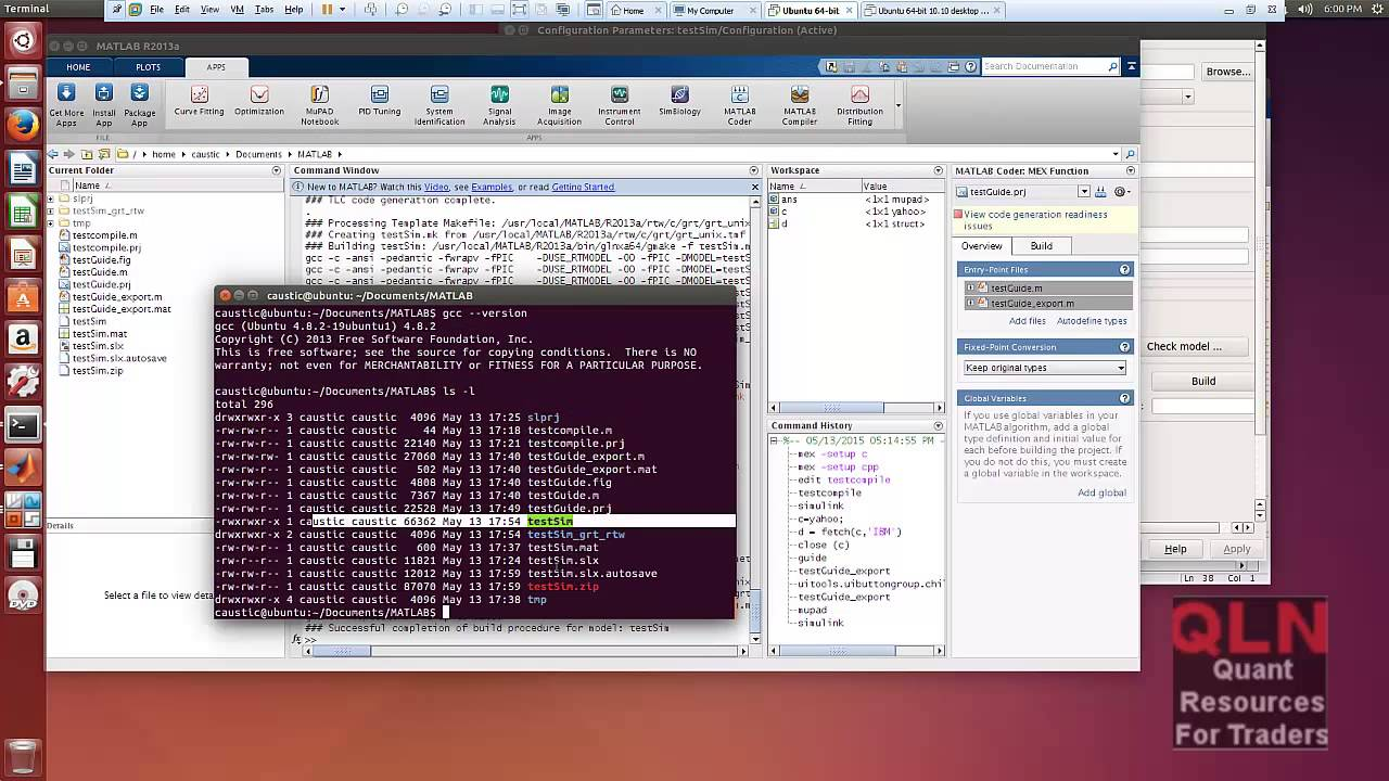 Demo of Matlab on Ubuntu Linux with code generation to C