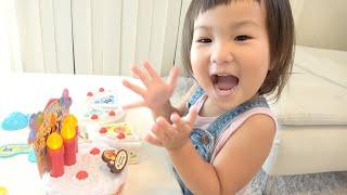 アンパンマンバースデーアイスケーキセットのおもちゃでおままごと ごっこ遊び Anpanman Birthday Ice Cake Toy