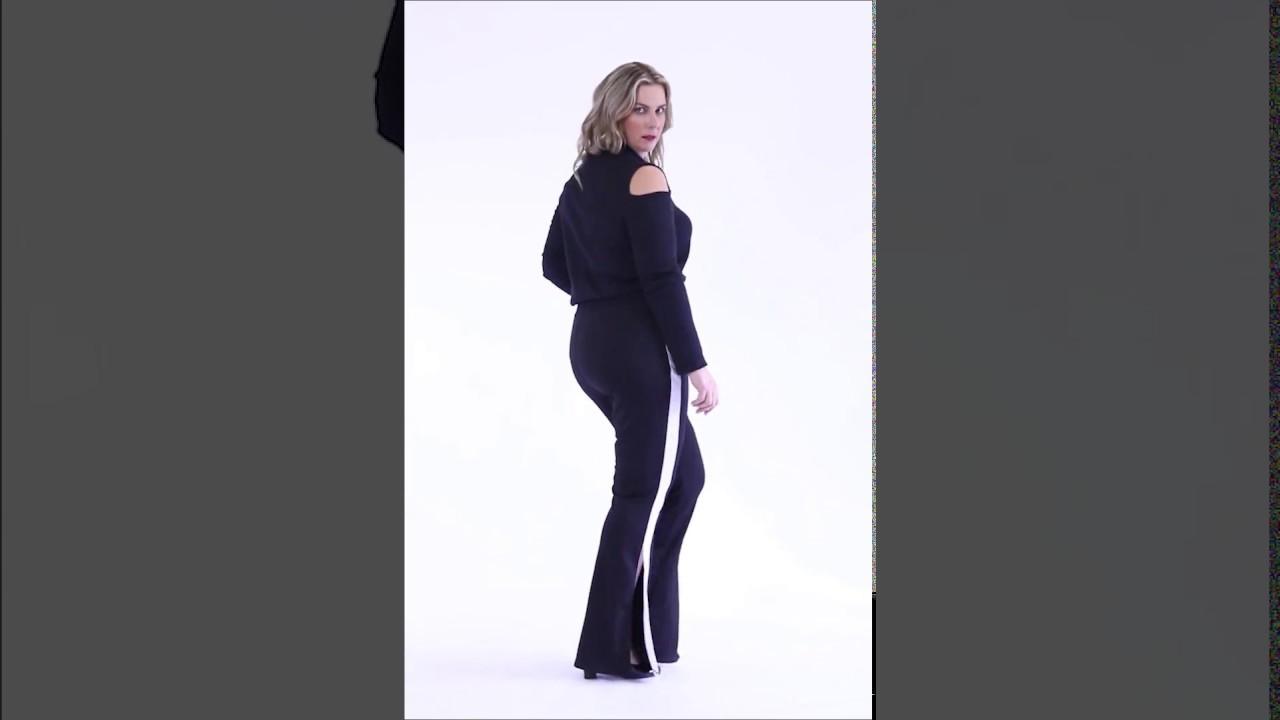 dcfbff6d5 Blusa gola alta preta e Calça preta com listra lateral Plus Size -  Marguerite | Posthaus