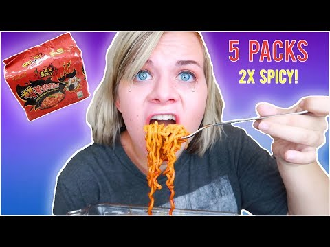 NUCLEAR FIRE NOODLE CHALLENGE! 🔥 MUKBANG! // SoCassie