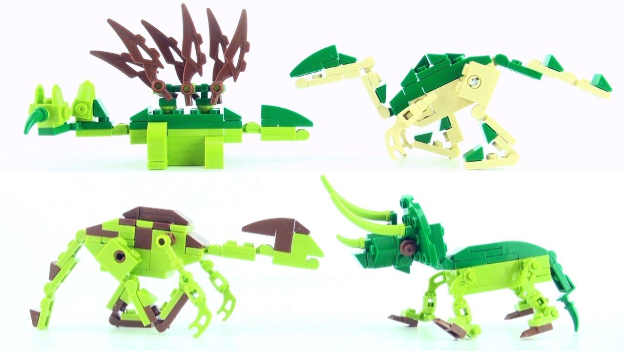 4 lego compatible creator dinosaurs stegosaurus spinosaurus triceratops dino speed build - Lego dinosaurs spinosaurus ...