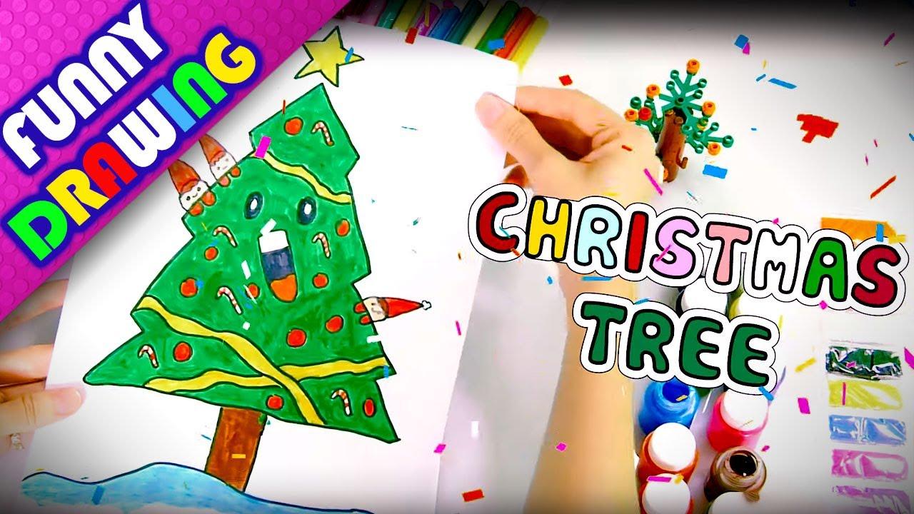 DIY - How to draw Magic Christmas Tree - Dạy bé vẽ và tô màu cây thông