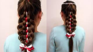 Коса 5+2. Коса с лентами. Причёска в школу. Видео-урок.