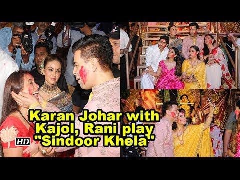 "Dussehra celebrations | Karan Johar with Kajol, Rani play ""Sindoor Khela"""