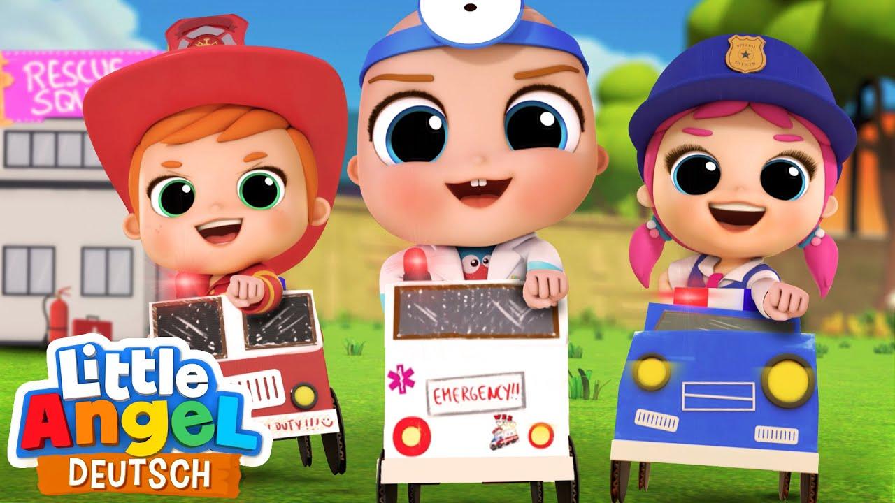 Die Rettungs-Patrouille | Polizei, Feuerwehr, Notarzt | Little Angel Deutsch – Kinderlieder
