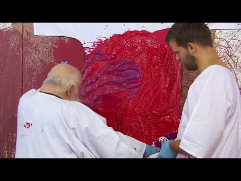 Hermann Nitsch - 75th Painting Action - August 2017, Prinzendorf, Vienna for MARC STRAUS GALLERY