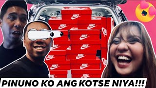 I FILLED MY BF'S CAR WITH BRANDED SHOES PRANK (PINAGBAYAD SI CONGTV!)