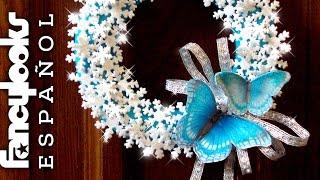 DIY Corona cristales nieve y mariposas de goma eva