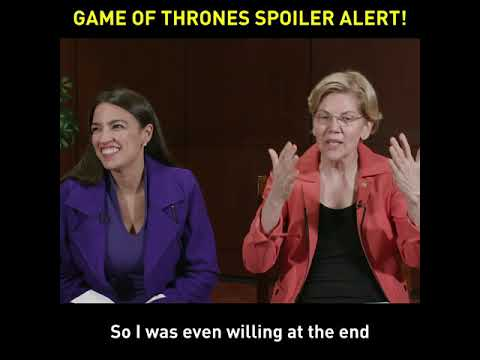 "This Twitter video went viral when U.S. Rep. Alexandria Ocasio-Cortez hammed it up with Massachusetts Sen. Elizabeth Warren while talking about the finale of ""Game of Thrones."""