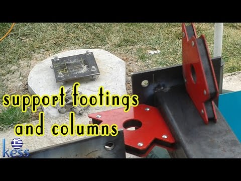 How to Build a Steel Structure House Part1 Support Footings & Columns. Πέλματα κολώνες