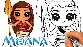 How to Draw Moana step by step Chibi - Disney Princess