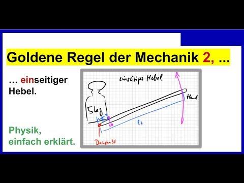 Hebelgesetz, einseitiger Hebel, Goldene Regel der Mechanik 2, Physik ...