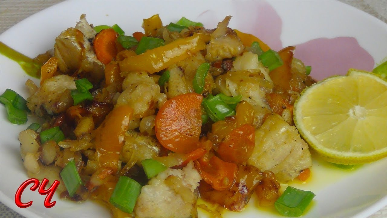 Рыба с Овощами на Сковороде. (Постное блюдо) Супер быстрое приготовление!