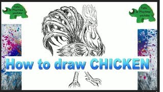 How to draw Cartoon Rooster Cockerel Cock Chicken Chick Kids Learn Easy Drawing Step by Step