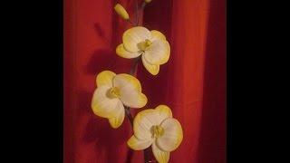 DIY /Орхидеи своими руками / Композиция в вазу / Мастер класс цветы из ткани / Елена Шевченко /