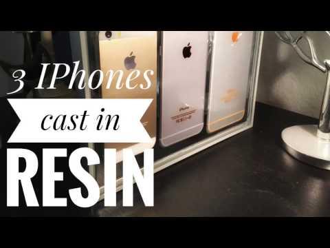 3 iPhones cast in resin