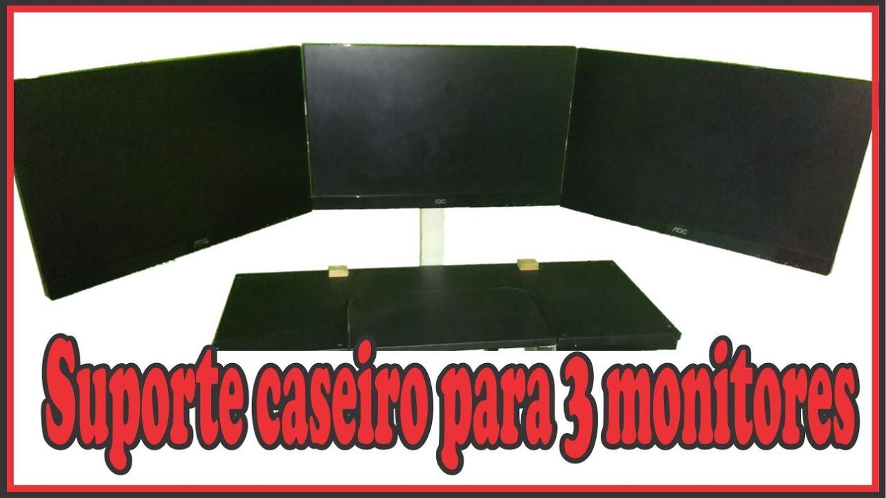 SUPORTE CASEIRO PARA 3 MONITORES. COMO EU FIZ - YouTube