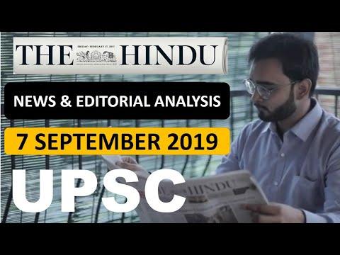 The Hindu Newspaper & EDITORIAL Analysis 7 September 2019