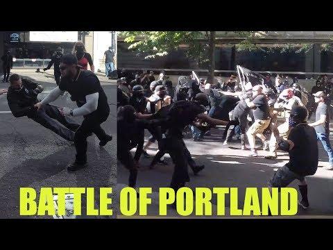 [4K] Battle of Portland: Antifa vs Proud Boys