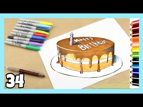 How to draw 3D Birthday Cake on paper step by step easy / #33 / Thea Drawing