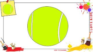 How to draw a tennis ball EASY & SLOWLY step by step for kids