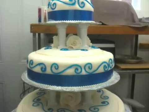 Blue and White Wedding Cake - YouTube