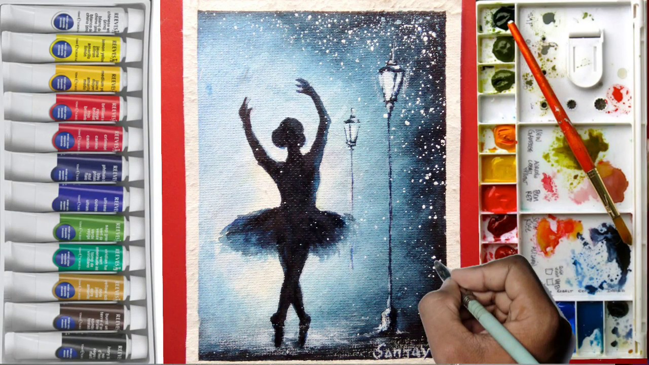 Simple Watercolor Ballet Dancer Painting Tutorial For Beginners Youtube