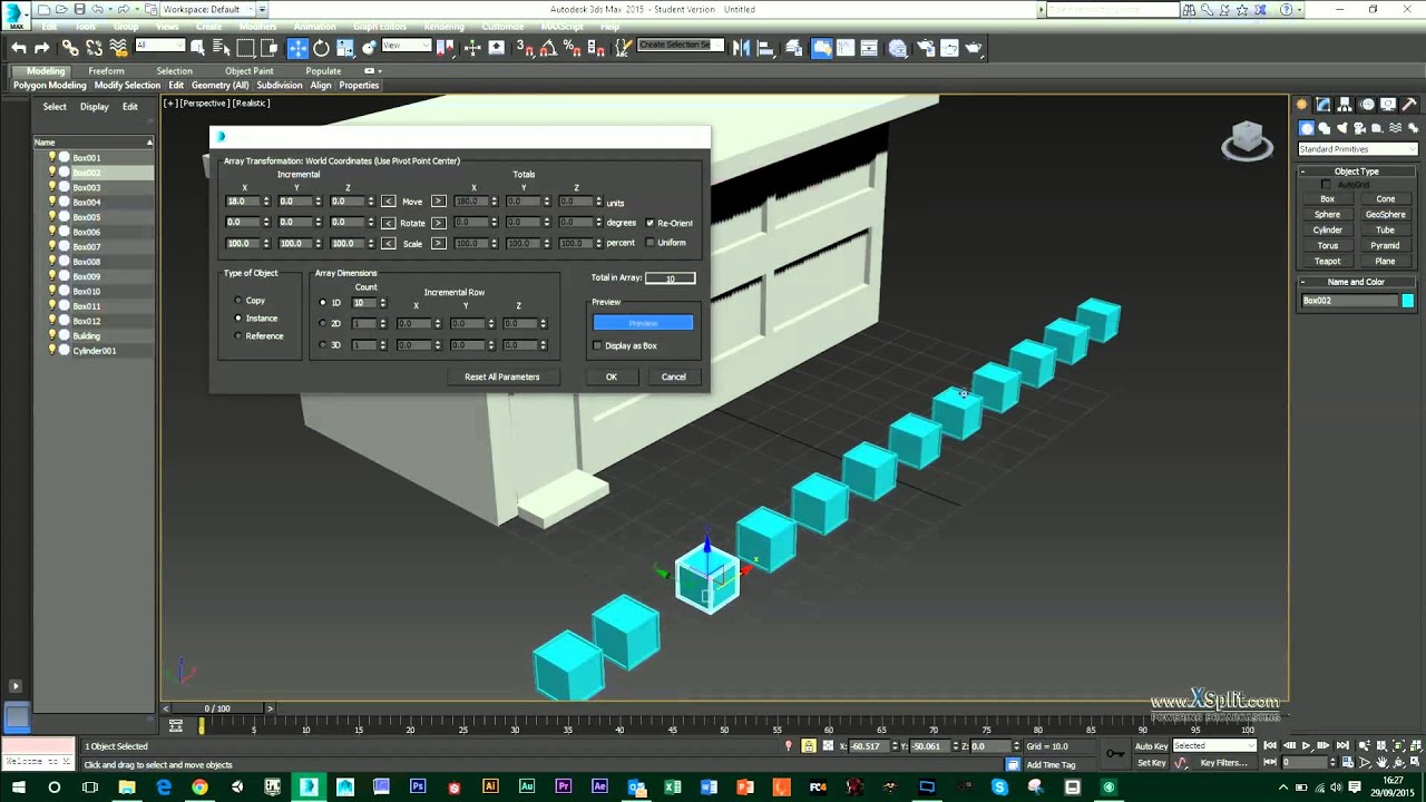 3DS Max - Using the Clone and Array Tool
