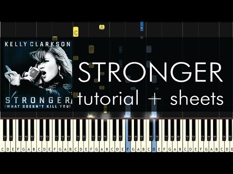 Kelly Clarkson - Stronger - Piano Tutorial - How to Play + Sheets