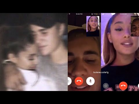 Ariana Grande and Justin Bieber (Snapchat 2017) kissing, singing