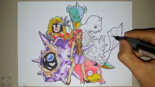 Elite Lorelei (Indigo Plateau Pokemon League) - Speed Drawing | Labyrinth Draw