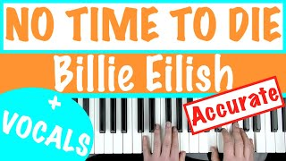 How to play NO TIME TO DIE - Billie Eilish | Piano Chords/Accompaniment Tutorial +Sheets