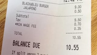 Restaurant Charging Customers a 'Minimum Wage Fee'
