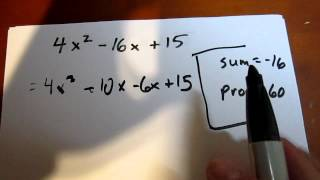 Difficult Trinomial Factoring Using Decomposition (Example 3)