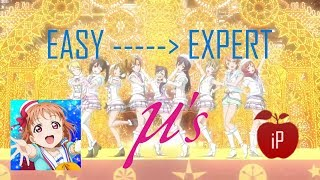 Snow Halation - μ's (Muse) l EASY → EXPERT l LivePlay by iPhong (Love Live! Festival)
