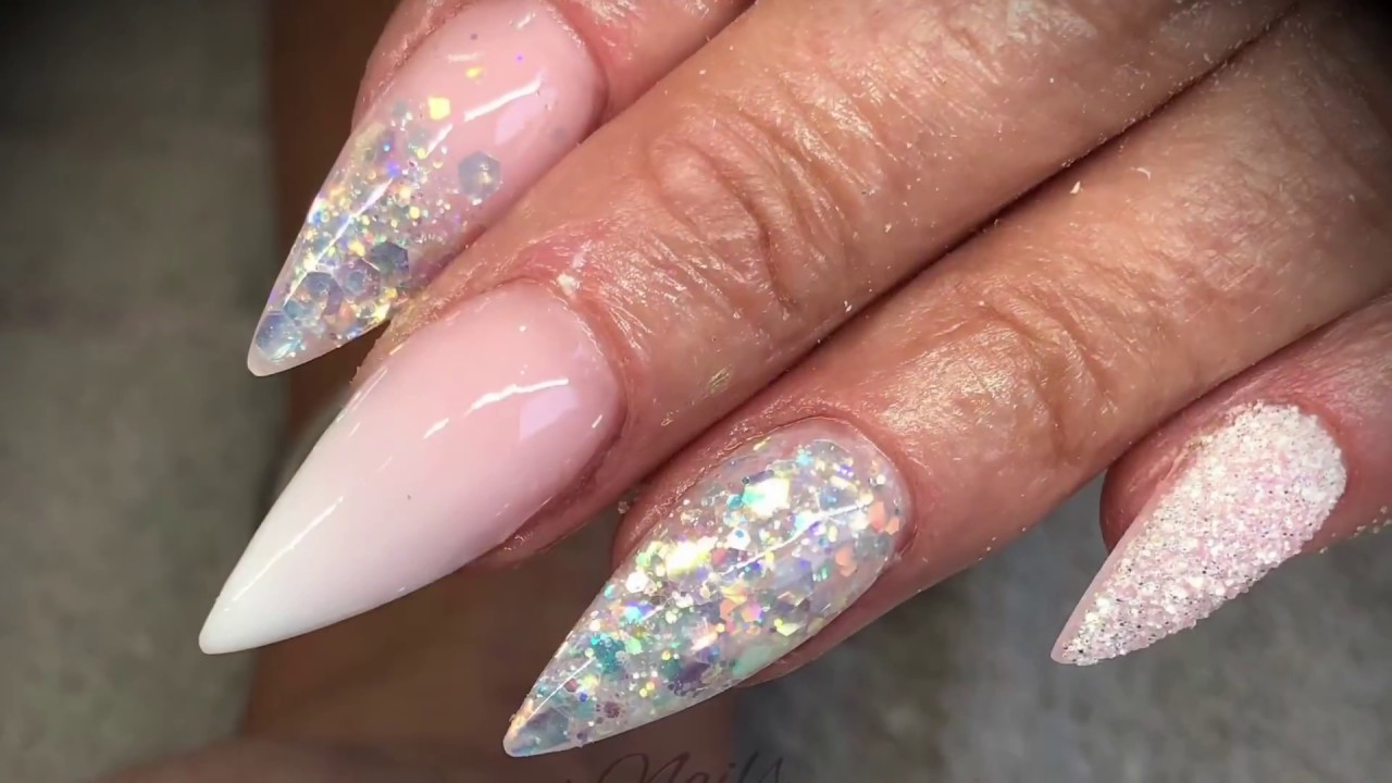 Acrylic nails - pink & white design with glitter - YouTube