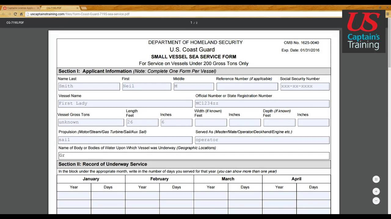 Small Vessel Sea Service Form Section I - YouTube