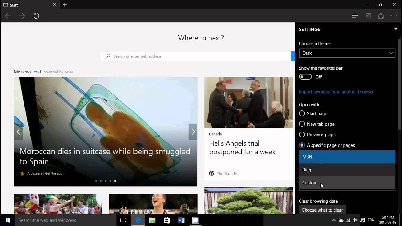Windows 10 How to change default start page of Microsoft Edge web browser