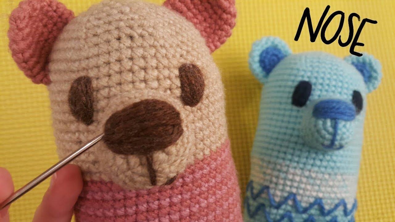 How to stitch teddy bear nose | amigurumi and crochet tutorials ... | 720x1280