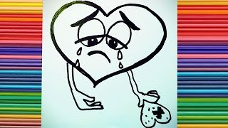 how to draw a broken heart emoji | lost love | i hate you | crying emoji