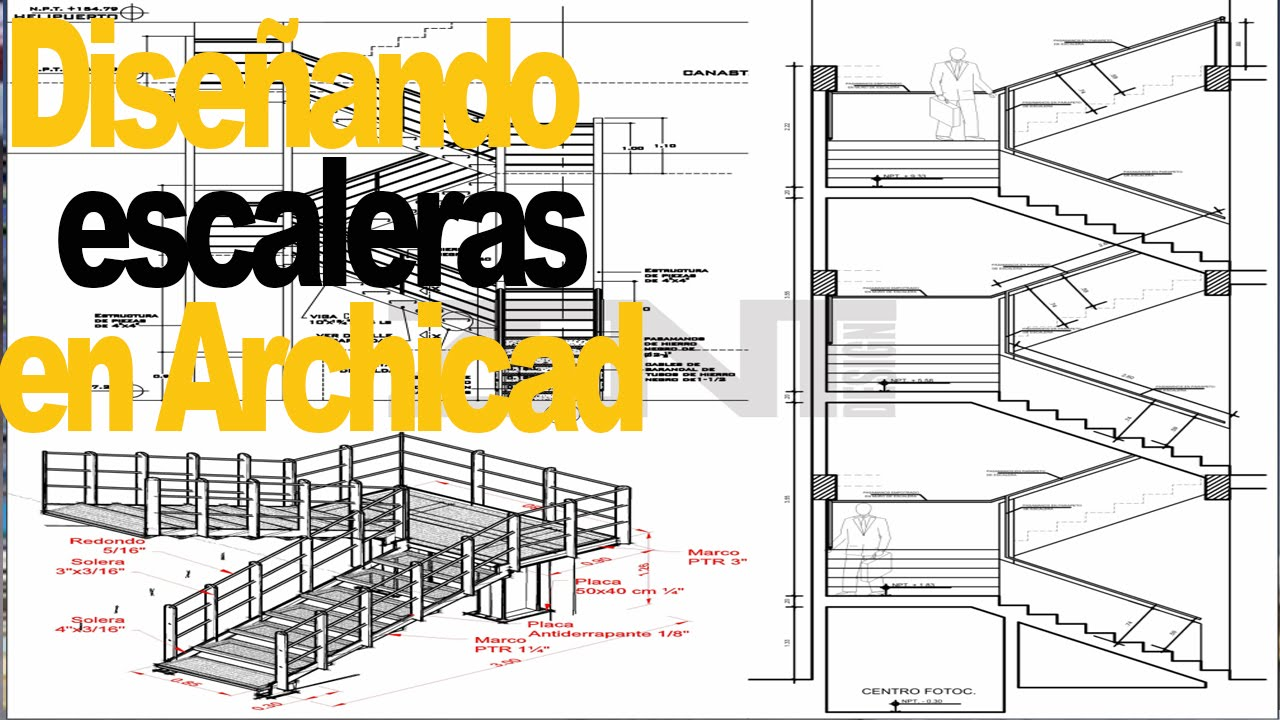 Curso archicad 1 2 6 detalles para planos de escaleras for Planos de escaleras de concreto armado