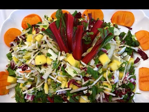 No Carb Tropical Red Spinach and Mango Salad