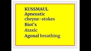 KUSSMAUL, Apneustic, Ataxic,  Agonal, cheyne-stokes, Biot's breathing