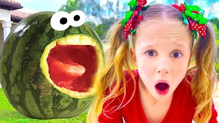 Nastya and Watermelon with a fictional story for kids - The Magical Watermelon