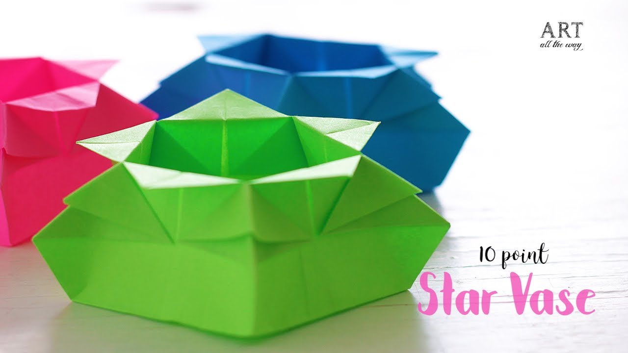 Diy 10 Point Star Vase Paper Craft Ideas Origami Instructions