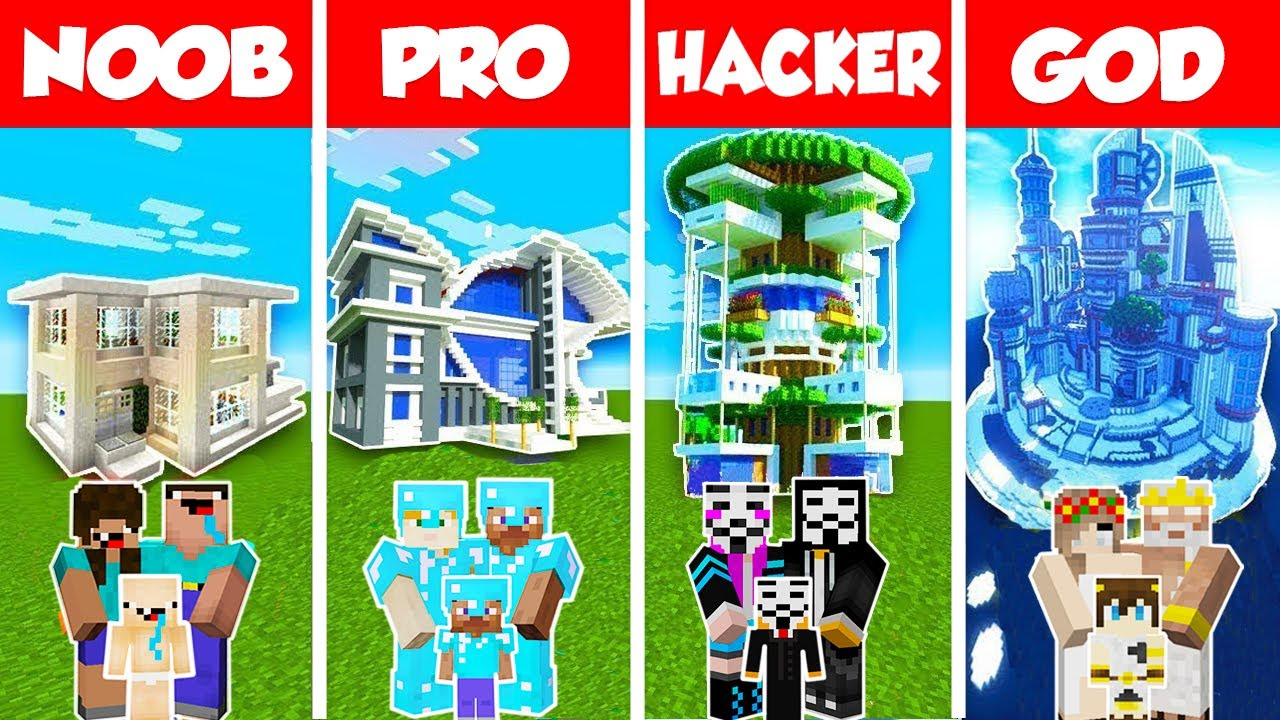 Download Minecraft NOOB vs PRO vs GOD: BUILDING IDEAS FOR MODERN HOUSE CHALLENGE in Minecraft